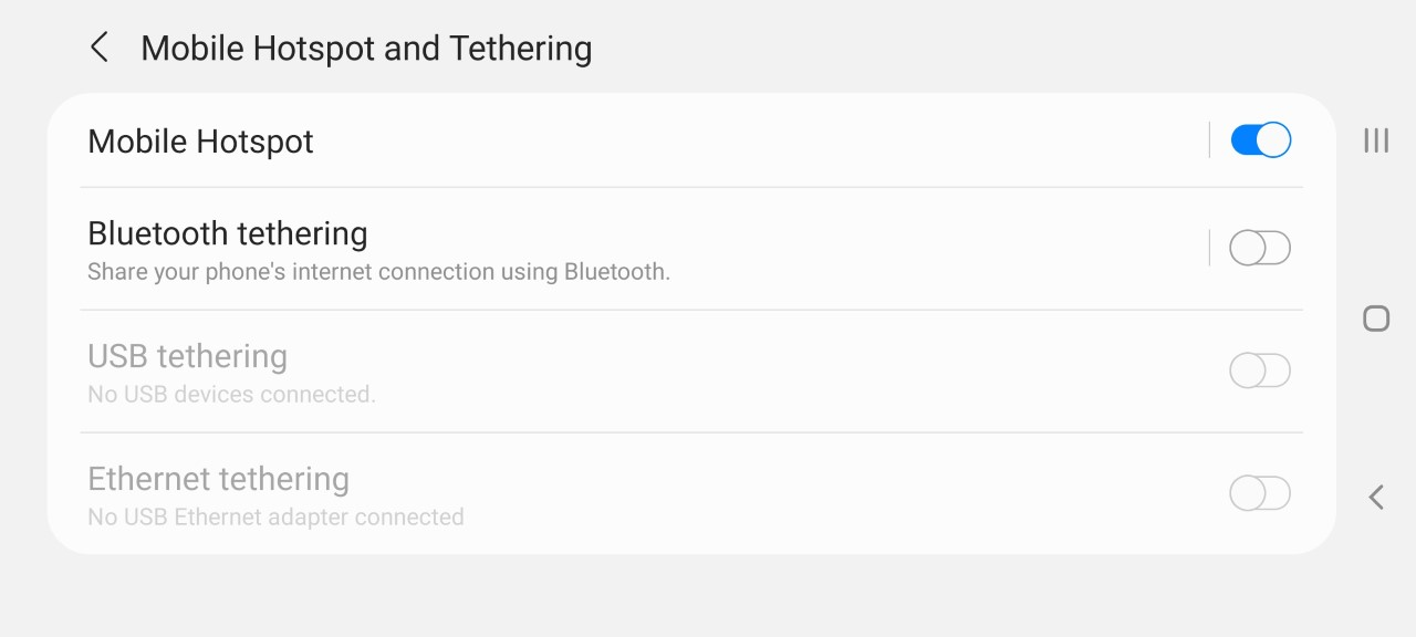 Samsung Mobile Hotspot Settings